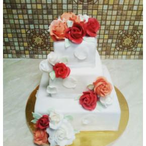 №414 Торт с цветами на свадьбу
